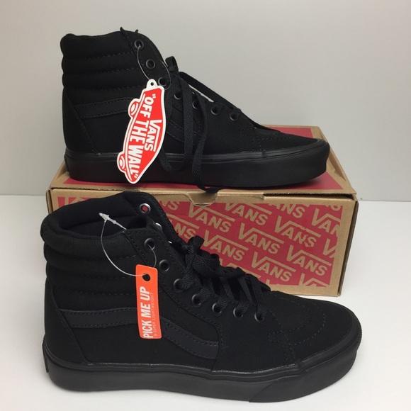dcba5dd80922b2 Vans SK8-Hi Lite Canvas Black High Top Skate Shoes
